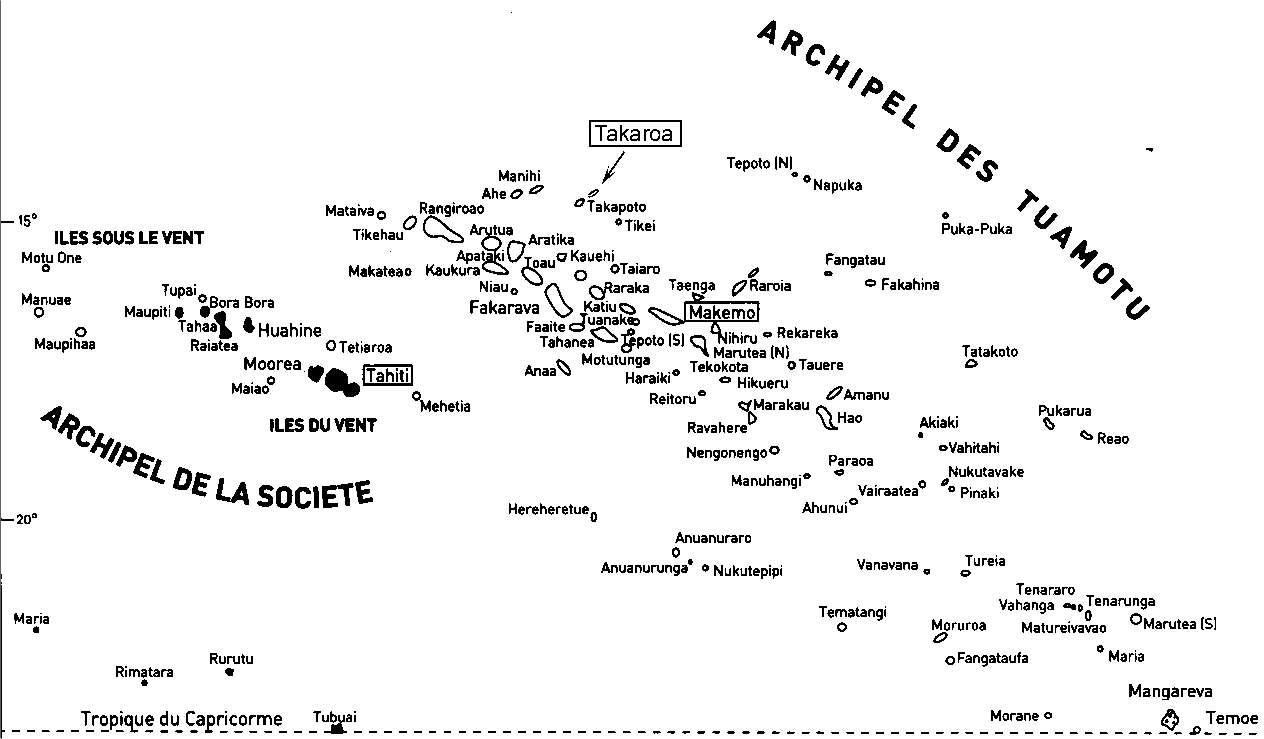 L'atoll de Takaroa fait partie du vaste archipel des Tuamotu, au nord-est de la Polynésie.