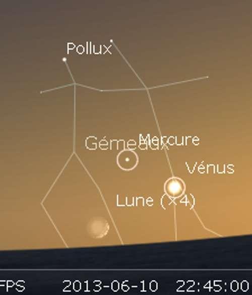 Le 10/06/2013 : la Lune en rapprochement avec Vénus et Mercure. © Futura-Sciences, DR