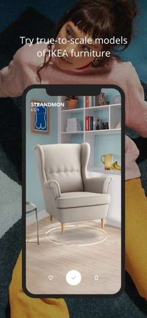 Ikea a intégré la technologie d'intelligence artificielle dans l'application pour smartphone Place sous iOS. © Courtesy of Ikea via the App Store, Ikea Place