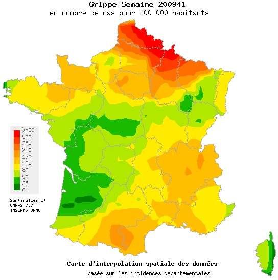 Situation épidémiologique pour la semaine du 5 au 11 octobre 2009 pour la grippe (tous types confondus). © Réseau Sentinelles