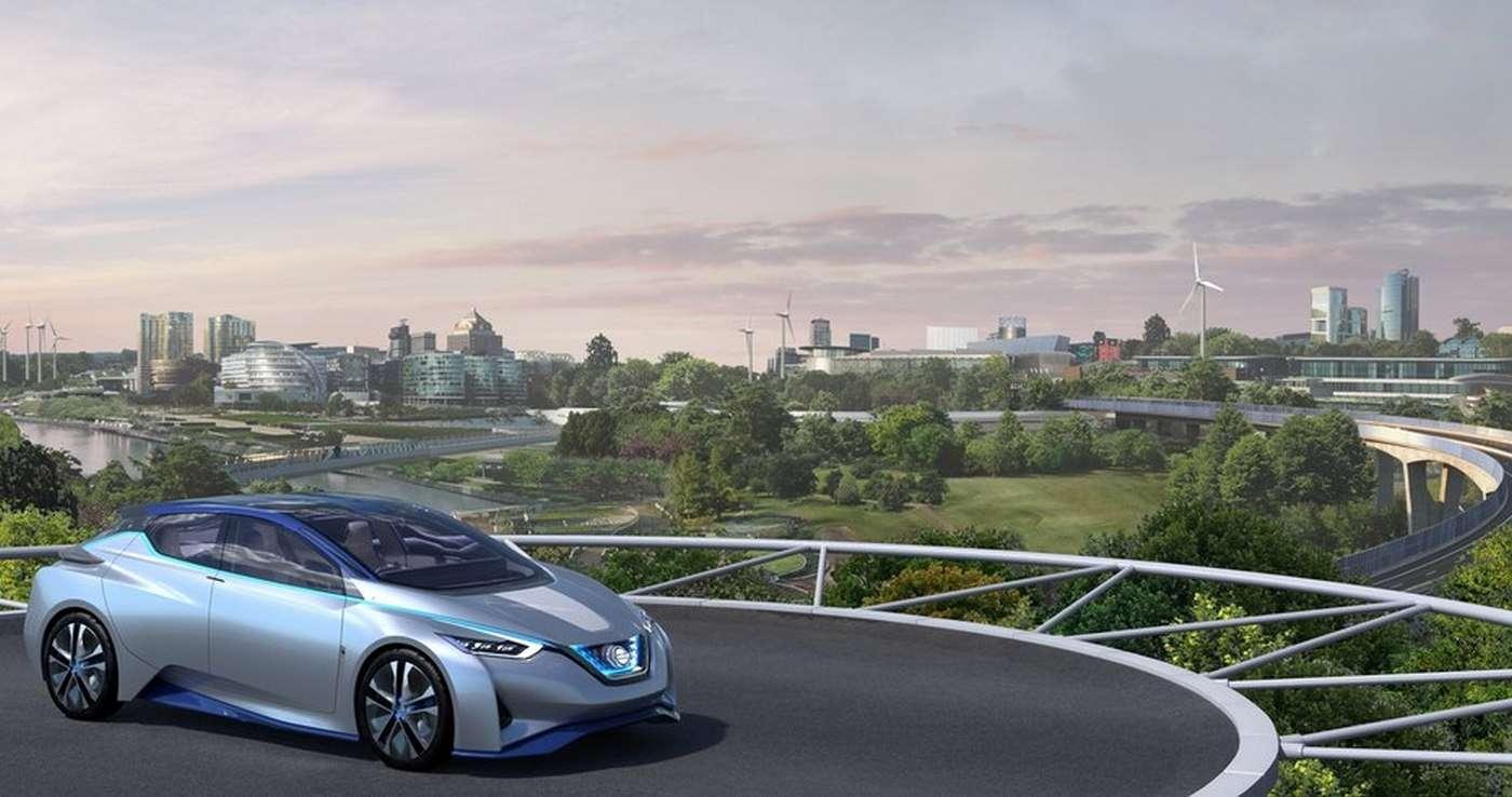 Dans la vision du futur de Nissan, la voiture électrique est un élément actif du réseau de ravitaillement qui servira à fédérer les installations et à éviter les pertes d'énergies renouvelables. © Nissan