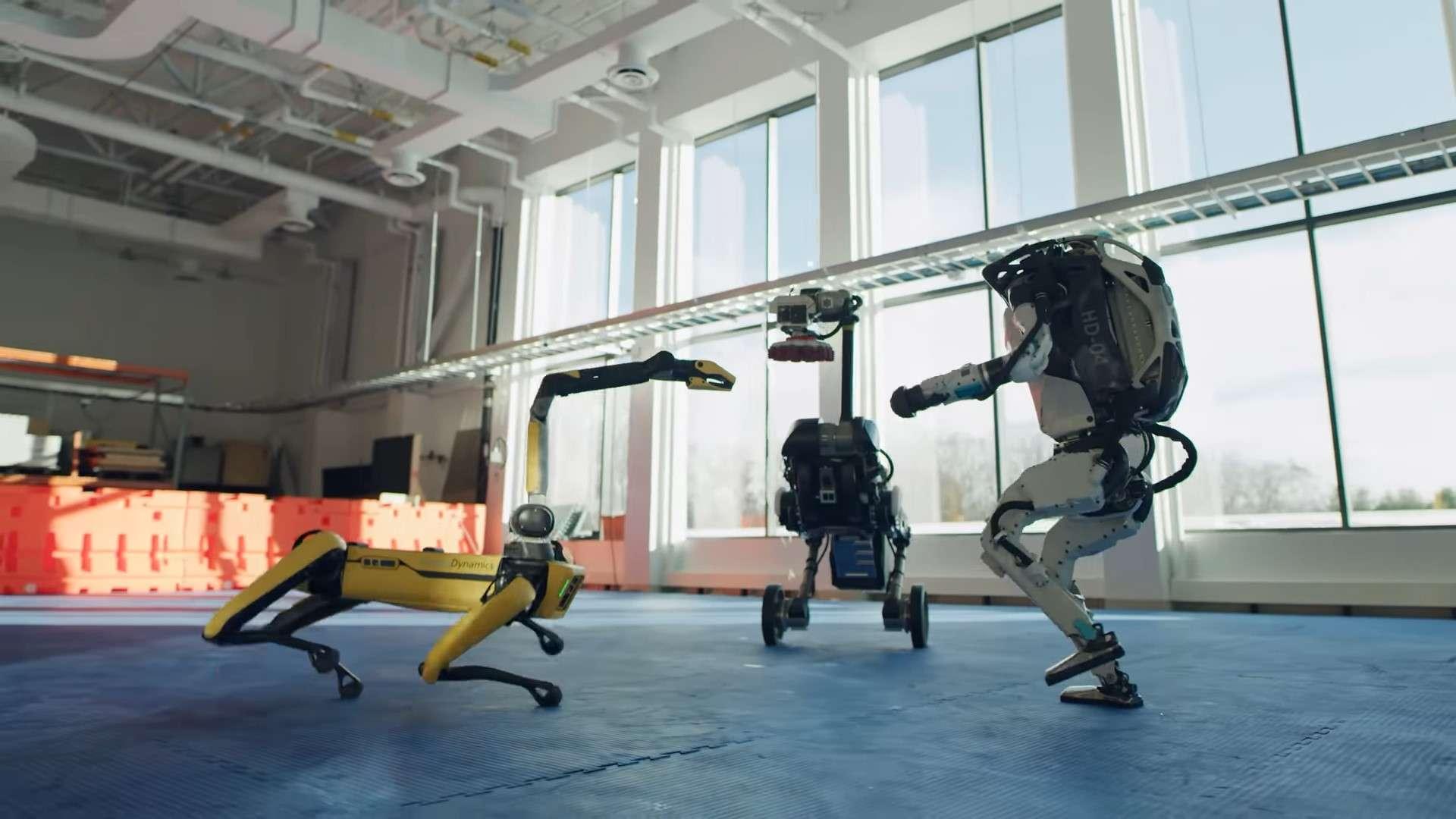 Les robots Atlas, Spot et Handle dansent sur la chanson Do You Love Me de The Contours. © Boston Dynamics