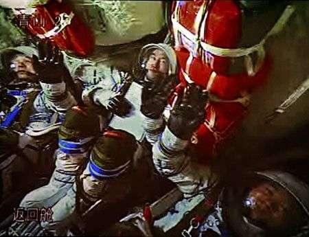 Intérieur du vaisseau au moment de la mise à feu. Crédit Xinhua