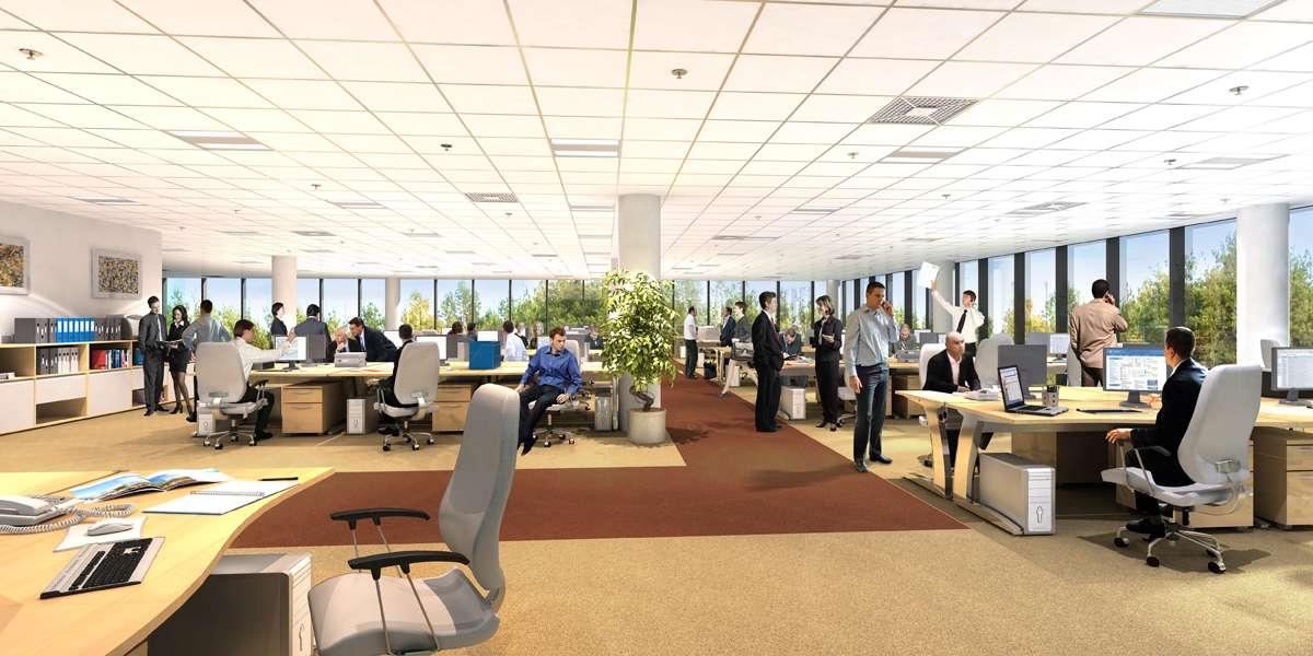 Dans les grands open spaces (plus de 24 personnes dans la même pièce), les femmes ont deux fois plus de risque d'être absentes pour maladie sur de longues durées que dans des bureaux isolés. © Foundation7, Wikimedia Commons, cc by sa 3.0