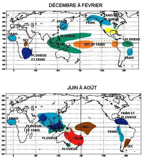 Les effets mondiaux de la Niña. Crédit : NOAA