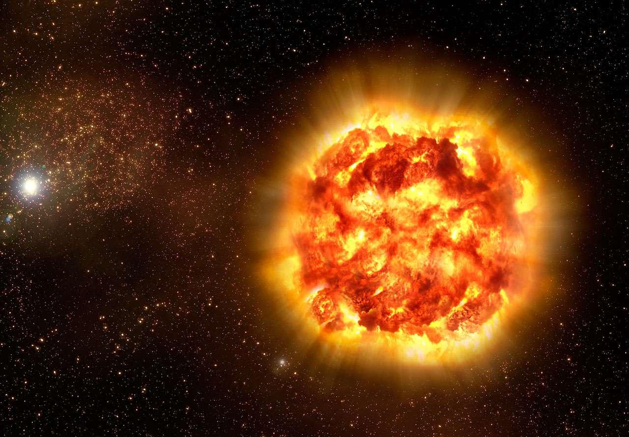 Certaines des supernovae de la Voie lactée sont des SN II, d'autres des SN Ia. Mais si, comme le montre cette vue d'artiste d'une telle explosion, elles sont bien visibles à quelques années-lumière pour un observateur dans le disque galactique, elles ne le sont pas pour d'autres. En effet, les nuages de poussières de la Voie lactée ne laissent passer sur de longues distances que la lumière infrarouge, et pas la lumière visible. © Eso