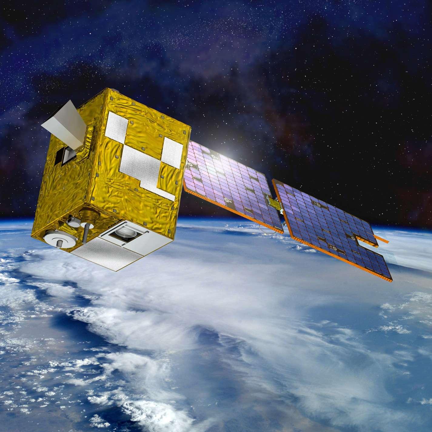Vue d'artiste du satellite Parasol (polarisation et anisotropie des réflectances au sommet de l'atmosphère, couplées avec un satellite d'observation emportant un lidar) du Cnes, qui achève sa carrière. © Cnes, D. Ducros