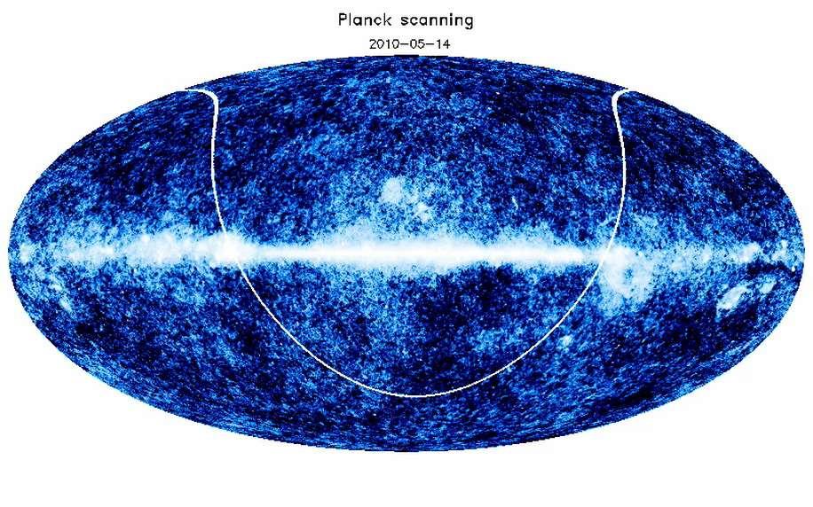 La première couverture complète du ciel fournie par Planck doit ressembler à cette image obtenue par simulation. Crédit : Planck-HFI France