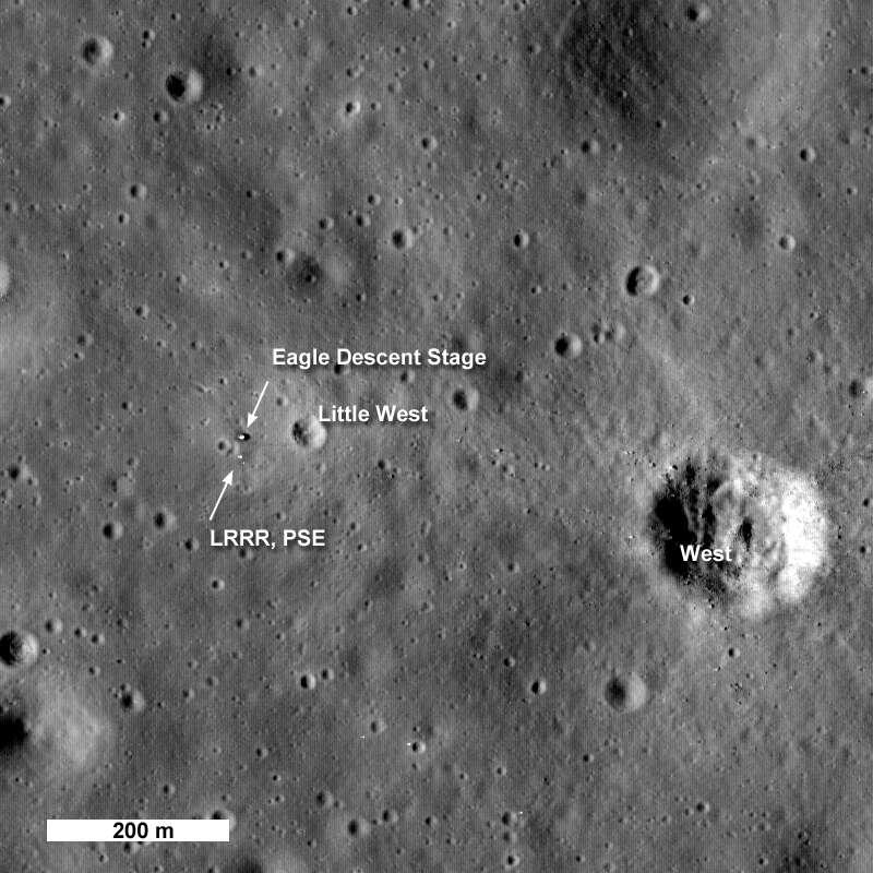 Une autre image avec une résolution plus basse de la zone d'alunissage d'Apollo 11. Crédit : NASA/Goddard Space Flight Center/Arizona State University