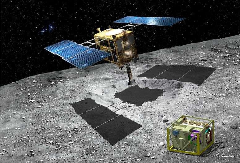 La sonde Hayabusa-2 et le mécanisme qui sera utilisé pour former un cratère à l'intérieur duquel la mission prélèvera des échantillons. Au premier plan, l'atterrisseur Mascot réalisé par le Cnes et le DLR. © Jaxa