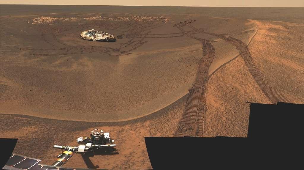 Le « nid » du rover Opportunity dans le cratère de l'Aigle, où il s'est posé le 25 janvier 2004. Presque dix ans plus tard, le rover parcourt encore la surface de Mars. © Nasa, JPL-Caltech