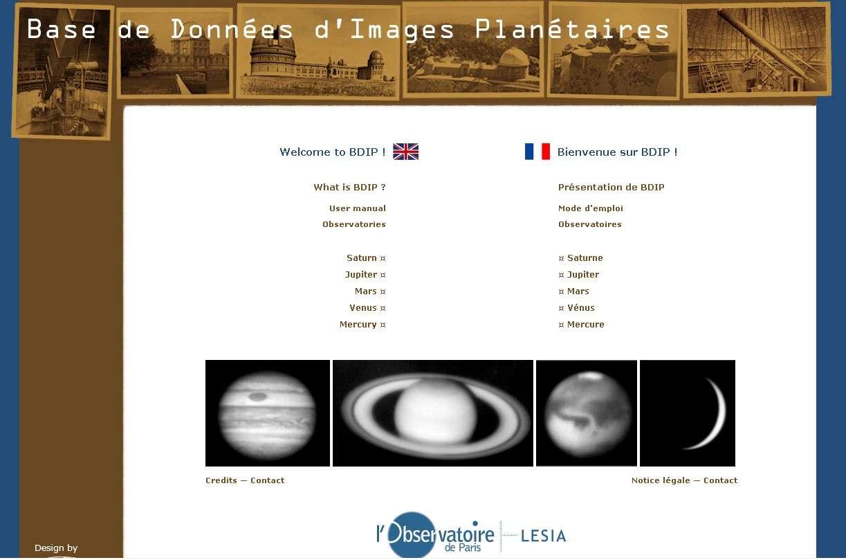 La page d'accueil du site de la BDIP, la Base de Données d'Images Planétaires.