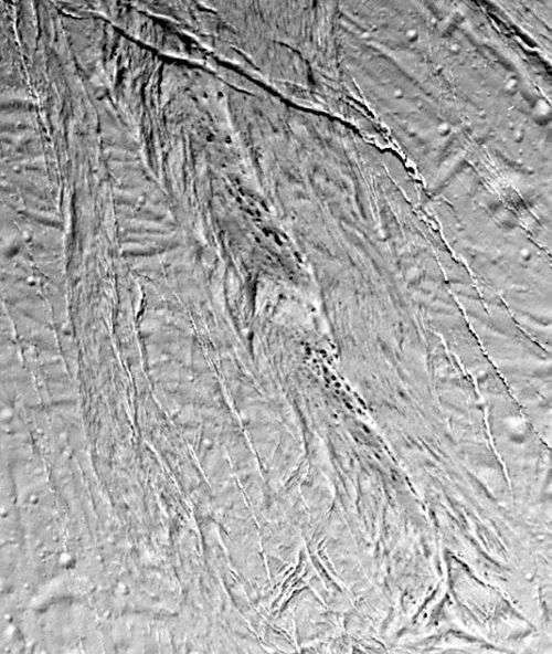 La surface torturée et fissurée d'Encelade, révélée ici par Cassini en 2005.