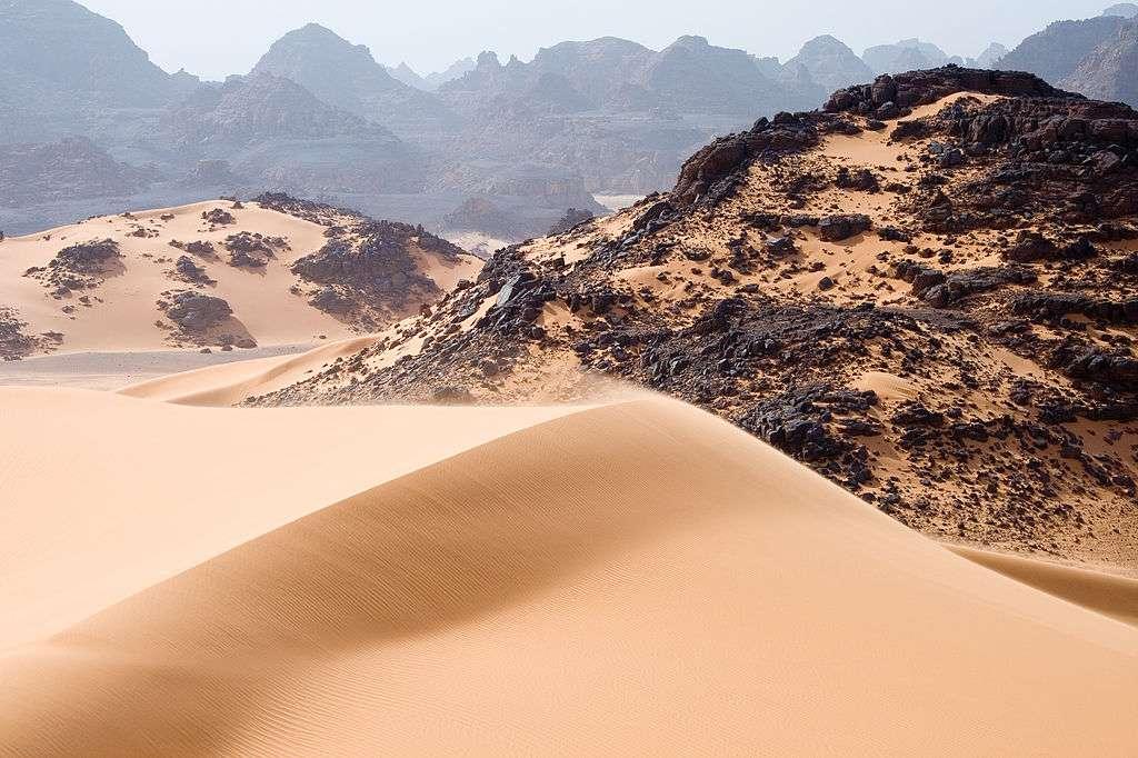 À l'image, les dunes mouvantes, rochers et montagnes dans le Tadrart Acacus, une région du Sahara dans le sud-ouest libyen. En été, la température peut dépasser 45 °C en journée. © Luca Galuzzi, Wikipédia, cc by sa 2.5