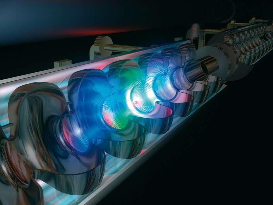 Une vue d'artiste des cavités accélératrices supraconductrices en niobium accélérant les électrons dans le laser Flash. Crédit : Hasylab