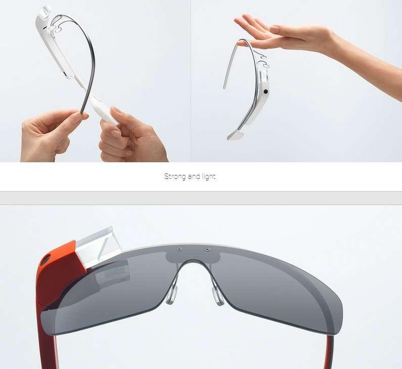 Le premier modèle de Google Glass arbore un design minimaliste qui tente d'intégrer au mieux les composants du système dans la branche droite et la monture. Google n'a pas encore communiqué de date pour une commercialisation à grande échelle. © Google