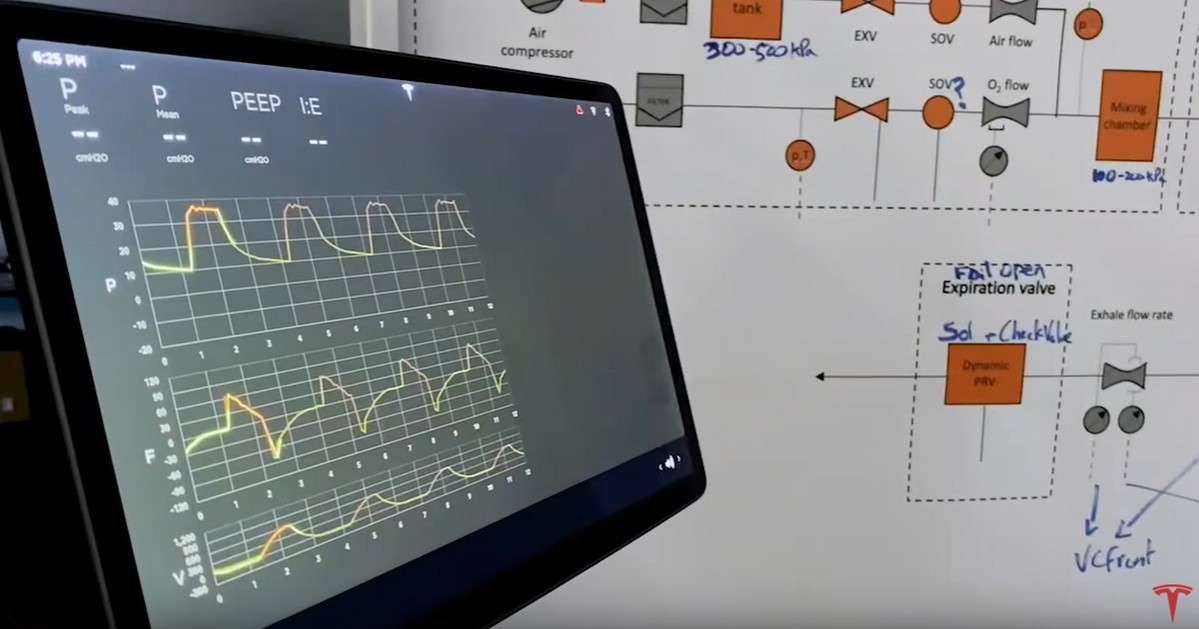 Le prototype de respirateur artificiel mis au point par les ingénieurs de Tesla. © Tesla