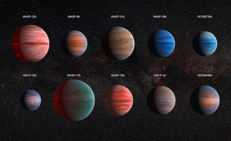 Illustration des dix Jupiter chaudes dont les atmosphères ont été étudiées dans le visible et l'infrarouge avec les télescopes Hubble et Spitzer. Chacune présente des caractéristiques différentes témoignant de la grande variété de ces mondes qui gravitent très près de leur étoile. Les proportions sont respectées. La plus petite, HAT-P-12b, a une taille équivalente à celle de Jupiter. © Nasa, Esa