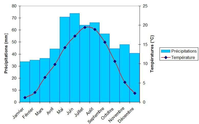 Les climatogrammes font partie intégrante de la climatologie. La lecture d'un diagramme permet, par exemple, de connaître les précipitations et la température moyennes d'un lieu pour chaque mois de l'année, à partir de données récoltées durant plusieurs décennies. Dans le cas présent, le climatogramme de Strasbourg a été construit grâce à des relevés quotidiens réalisés entre 1949 et 2001. © Neuceu, Wikimedia commons, cc by sa 1.0