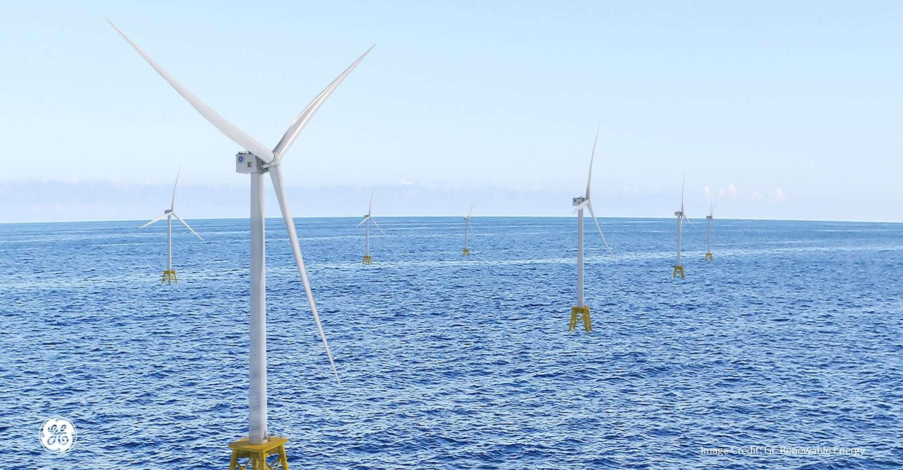 Avant de tourner sur le plus grand parc éolien du monde, Haliade-X devrait faire ses gammes sur des parcs américains. © General Electric Renewable Energy