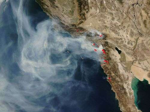 Les incendies de Californie le 24 octobre 2007, vus par satellite. Crédit Nasa