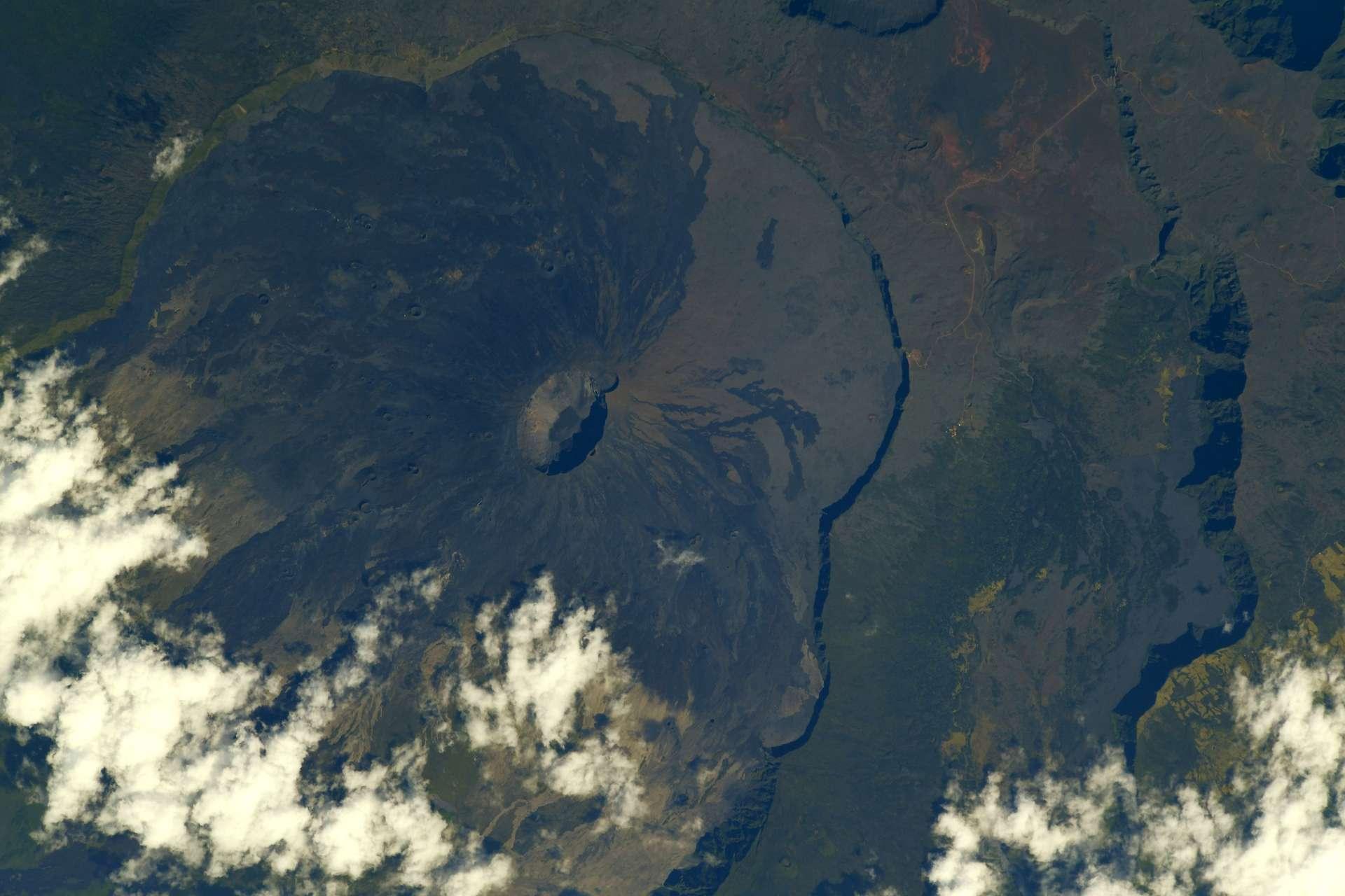 Le piton de la Fournaise, vu depuis l'espace. © ESA/Nasa, Thomas Pesquet