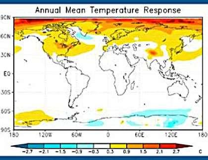 Augmentation moyenne des températures. Crédit UCI.