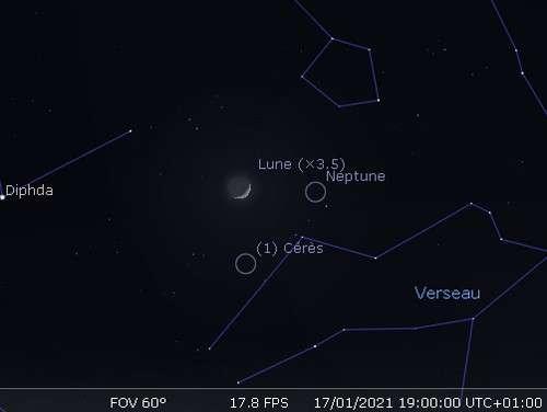La Lune en rapprochement avec Neptune et Cérès