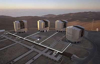 Les 4 télescopes de 8,20 m du VLT