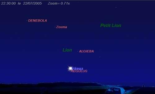 La planète Vénus passe à proximité de l'étoile Régulus