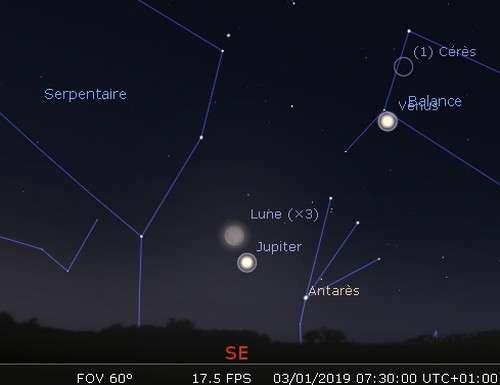 La Lune en rapprochement avec Jupiter et Antarès