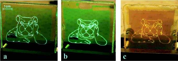 Trois écrans monochromes, recouverts, de gauche à droite, de pérylène, de BPEA et de rubrène. © Tzenka Miteva et al./New Journal of Physics