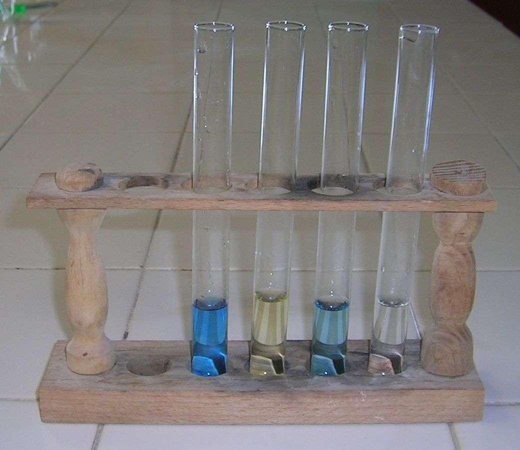 Un set de tubes à essai sur un portoir. © haltopub, Wikipedia, DP