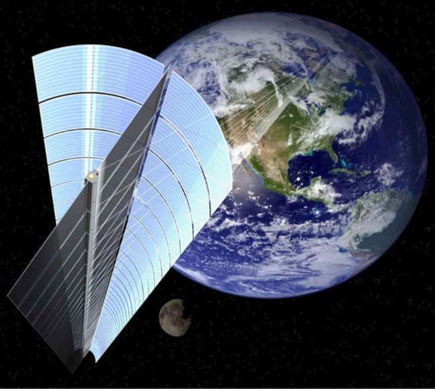 Une vue d'artiste du SSPS envisagé par la Jaxa. Sera-t-il en orbite dans les années 2030 ? © Jaxa