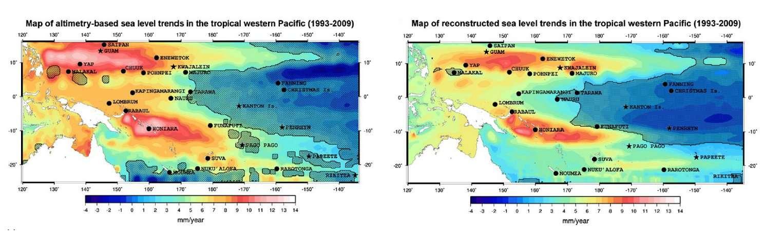 Variabilité régionale des vitesses de variation du niveau de la mer dans le Pacifique tropical ouest (en mm/an) mesurées par les satellites altimétriques entre 1993 et 2009 (à gauche) et reconstruites par les auteurs entre 1950 et 2009 (à droite).
