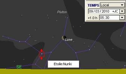 La Lune est en rapprochement avec la planète naine Pluton, l'étoile Nunki et l'amas globulaire M28
