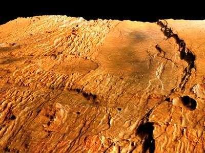 Claritas Fossae, une série de fractures linéaires situées dans la région martienne de Tharsis. Crédit Esa