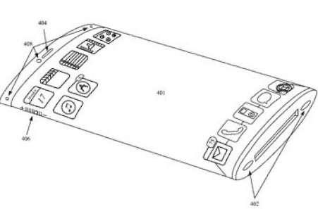 En 2011, Apple avait déjà déposé un brevet décrivant un terminal équipé d'un écran flexible permettant à la fois d'étendre l'affichage au-delà des bordures de l'appareil et de lui donner une forme courbe. Les modèles que préparerait Apple seraient dotés d'un écran recourbé au niveau des bordures afin de recouvrir les flancs de l'iPhone. © Apple, USPTO