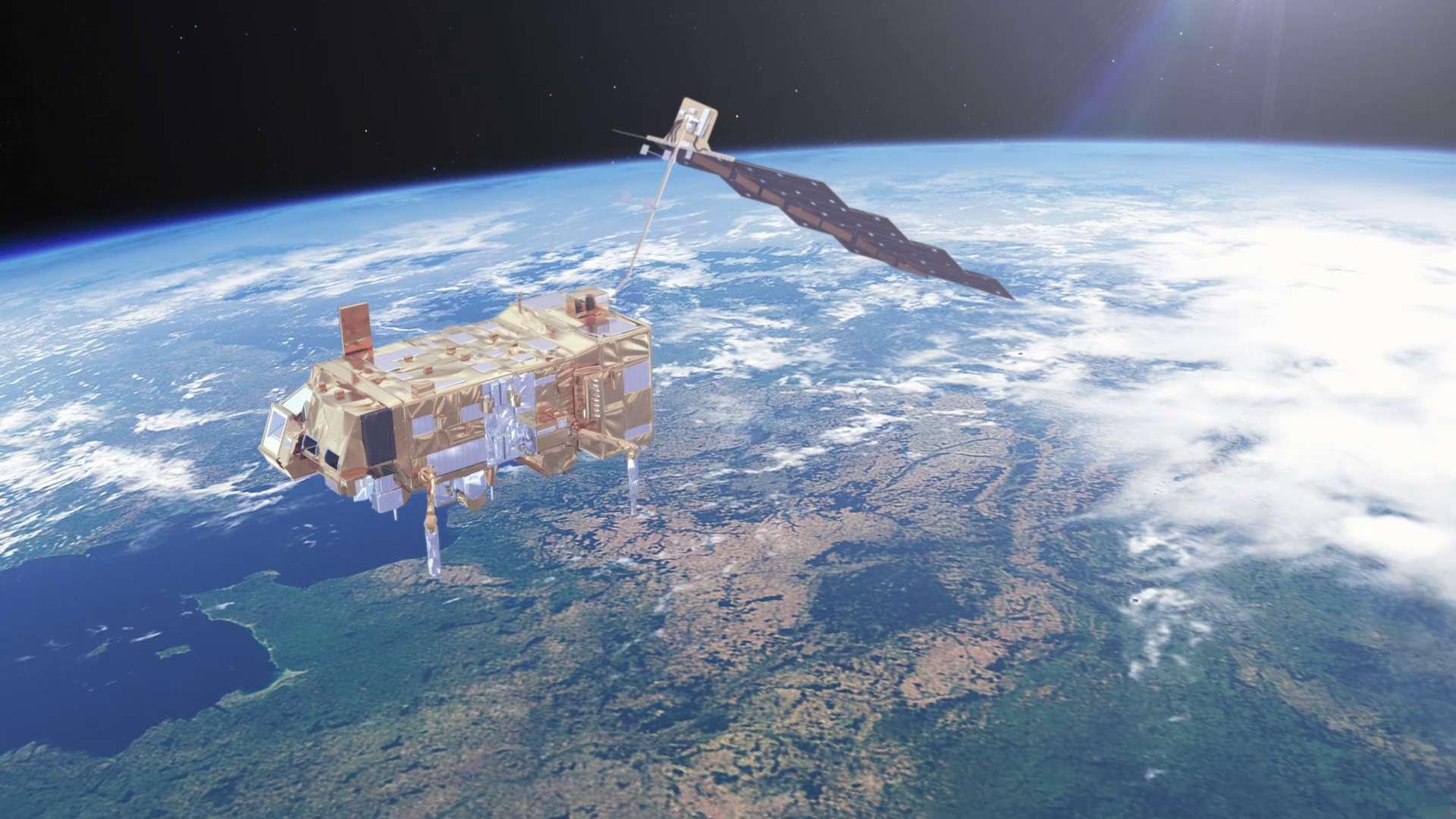 Le satellite Metop-C lancé dans la nuit du 6 au 7 novembre 2018 est construit par Airbus Defence & Space. Il embarque dix instruments fournissant des données essentielles à la prévision météorologique et à la surveillance du climat. © ESA