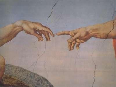 Les informations sensorielles du toucher commencent à être traitées par des neurones qui innervent la peau des doigts. © Michel-Ange, Wikimedia Commons, DP