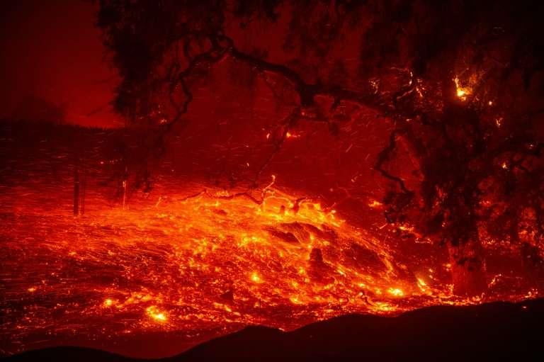 Le « Kincade Fire » près de Geyserville, le 24 octobre 2019 en Californie. © Josh Edelson, AFP
