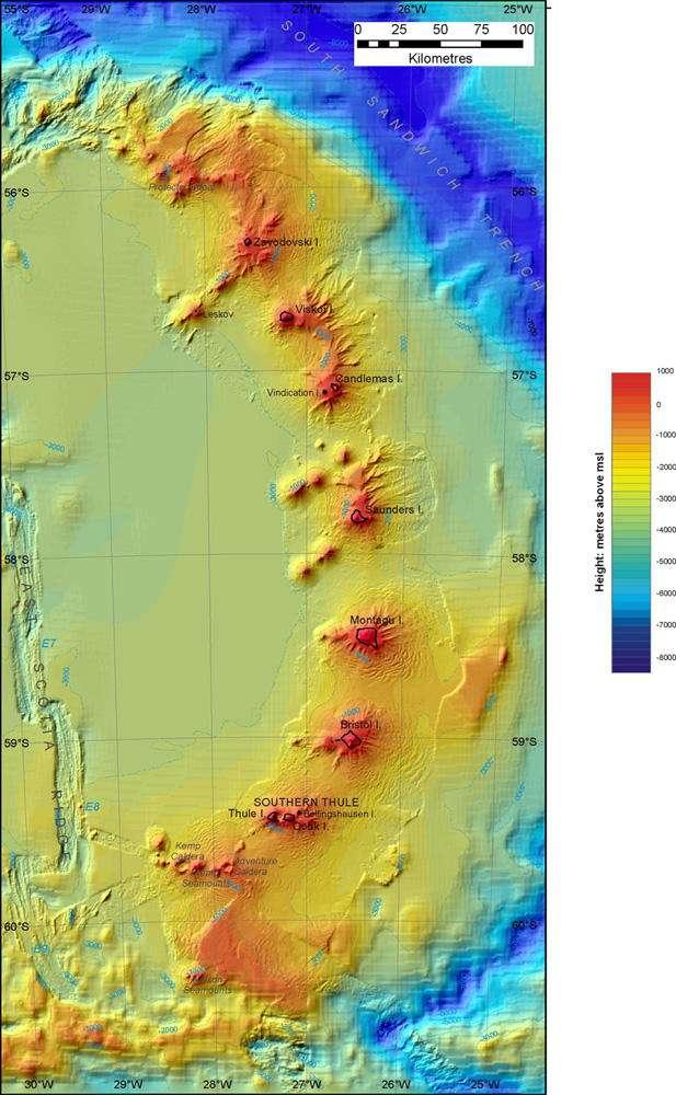 Douze nouveaux volcans subaquatiques ont été découverts à proximité des îles Sandwich du Sud © British Antarctic Survey