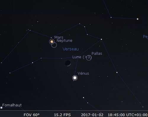 La Lune en rapprochement avec Vénus et Pallas