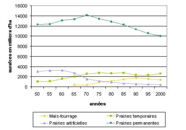 Évolution de la surface des prairies depuis 1950. Depuis les années 1970, les prairies permanentes ont régressé de 30% (données Agreste). © INA-PG, 2003