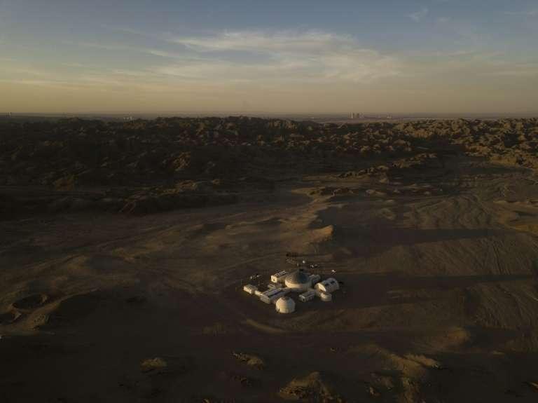 La base spatiale éducative « Mars Base 1 » dans le désert de Gobi en Chine, le 16 avril 2019. © Wang Zhao - AFP