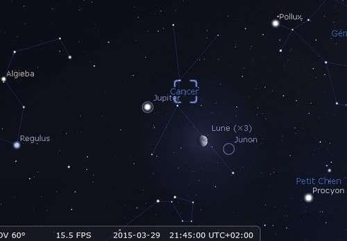 La Lune en rapprochement avec l'amas de la Crèche, Junon et Jupiter