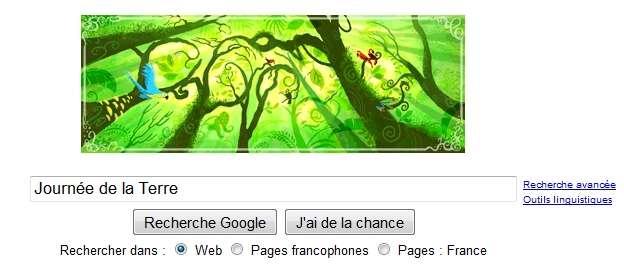 Google n'a pas oublié la Journée de la Terre et l'annonce sur sa page d'accueil par un logo spécial. © Google