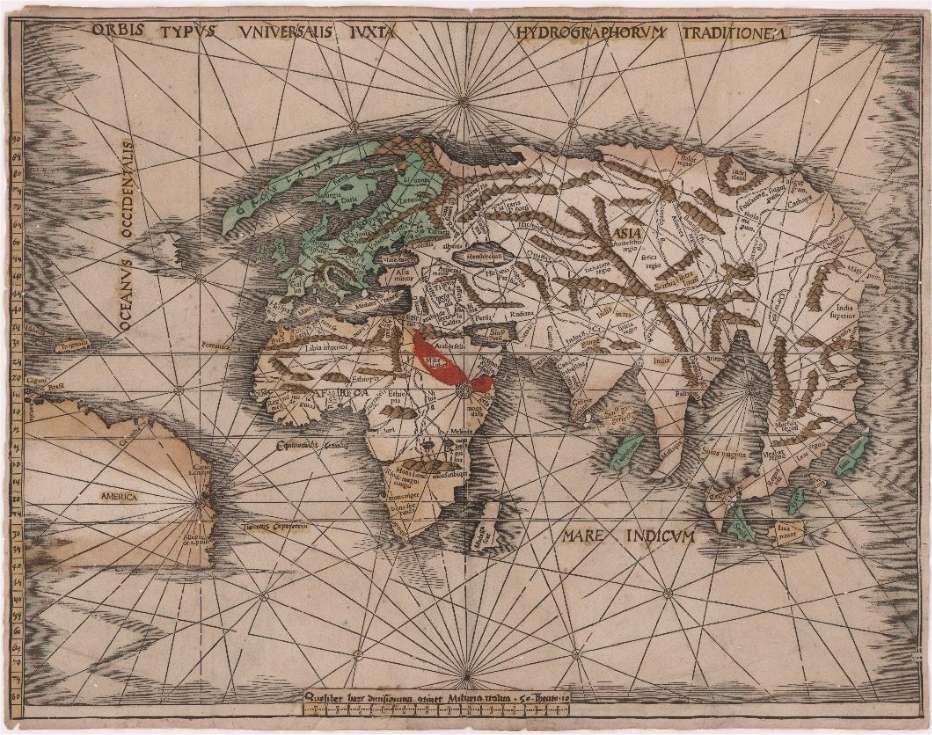 Réalisée peu après 1507, cette carte est sans doute la première du monde à porter le nom America (à gauche en bas). Cartographe allemand, Martin Waldseemüller, qui l'a dressée, avait lui-même suggéré, en 1507, d'appeler ainsi la nouvelle terre découverte par Christophe Collomb, du nom de l'un de ses compagnons, Amerigo Vespucci. © BNM
