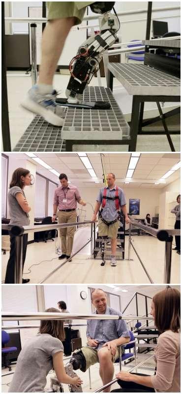 La jambe bionique conçue par le centre de rééducation de Chicago, fait avancer « à grand pas », les recherches sur les prothèses robotisées des membres inférieurs, moins avancées que celles sur des membres supérieurs. En effet, chaque obstacle présente une véritable contrainte, si le membre n'est pas fiable et robuste à 100 % la chute risque d'être lourde pour l'utilisateur, surtout dans un escalier. © RIC