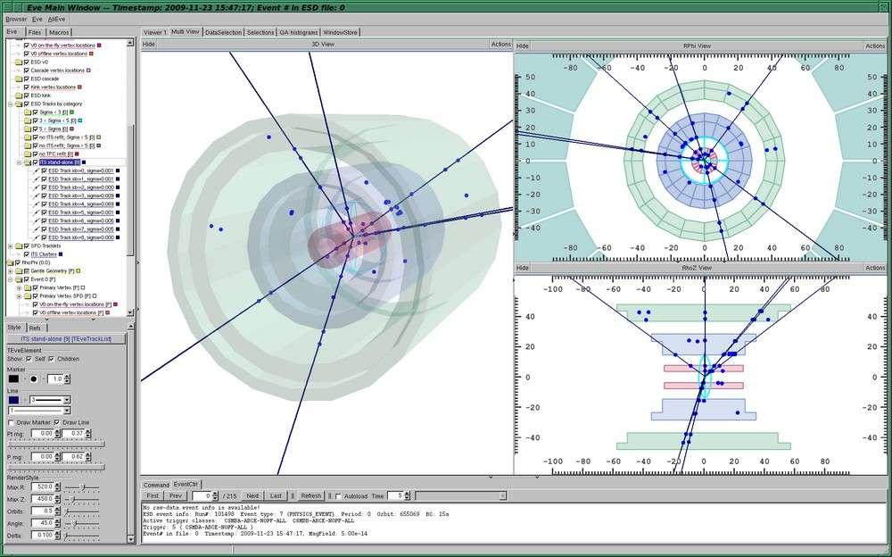 Une photo des écrans de contrôle du détecteur Alice montrant les collisions de protons. Crédit : Cern-collaboration Alice